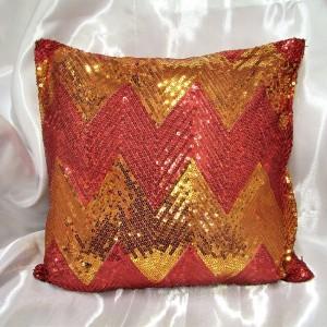 Vankúš Flitrový červeno - zlatý