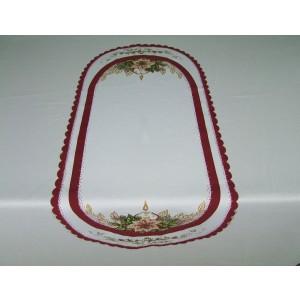 Obrus vianočný bordo,ovál sviečka