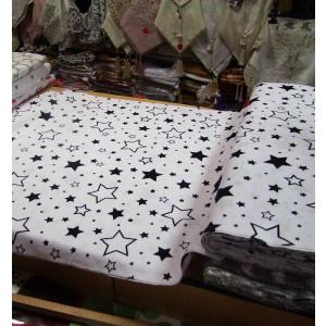 Bavlnené látky,čierno biele hviezdy