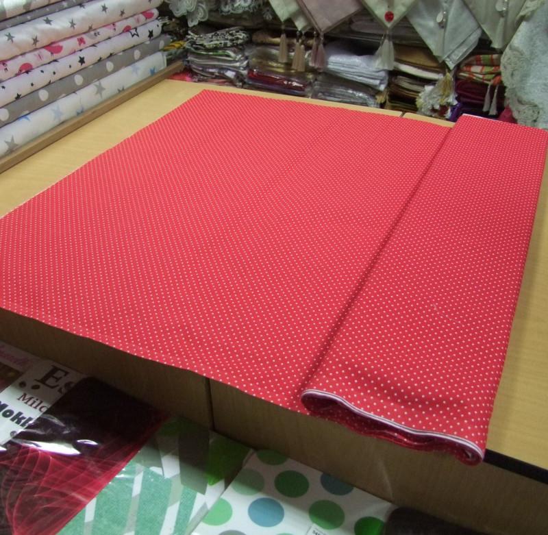 Bavlnené látky-Červená s gulkami
