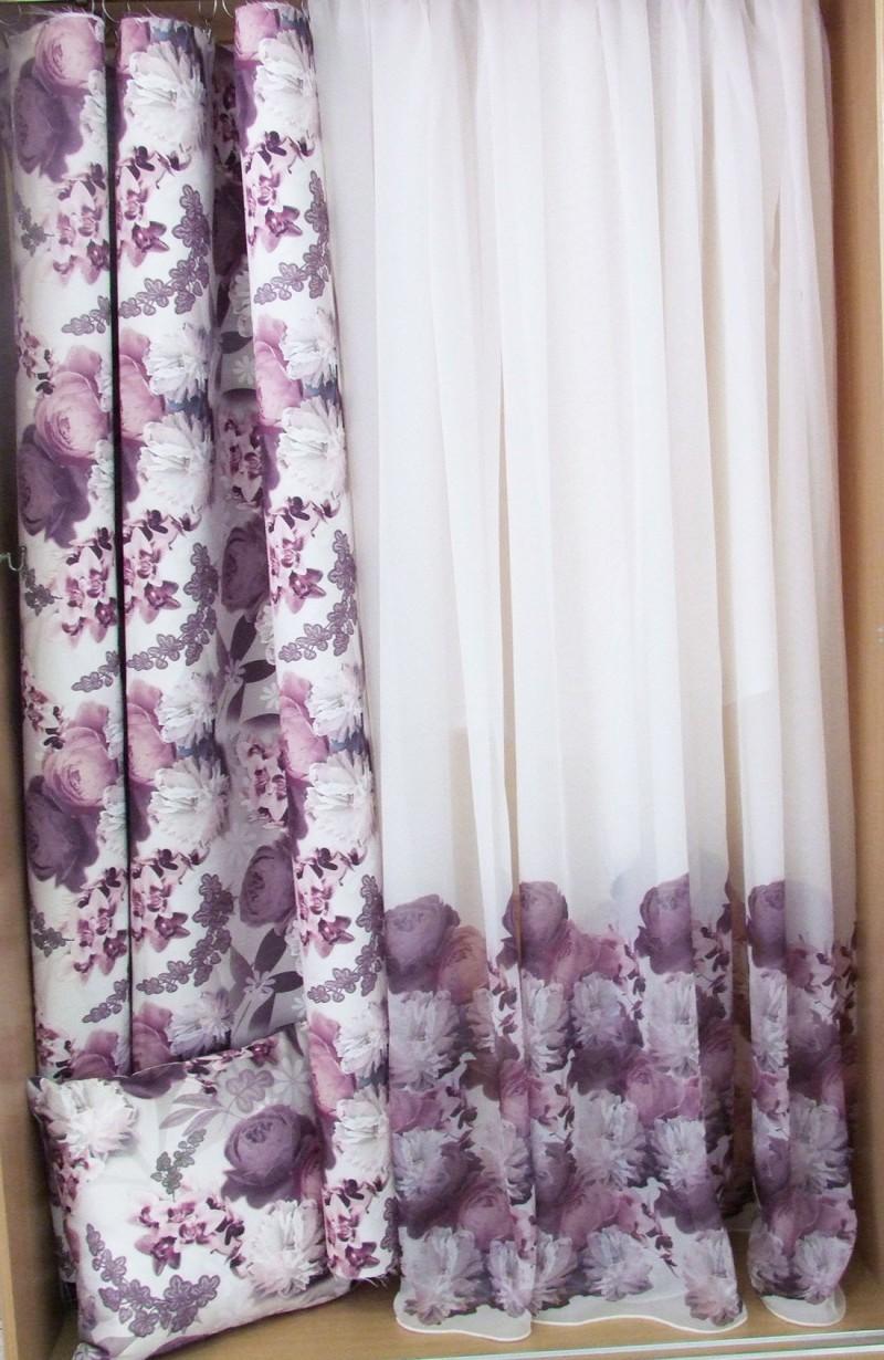 Voálová záclona 3D kvety