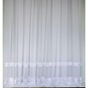 Záclona strihaná vyšivaná VER  biela