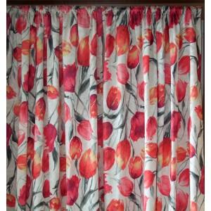 Záves strihaný dekoračný červené tulipány